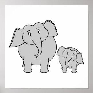 Dois elefantes bonitos. Desenhos animados Poster