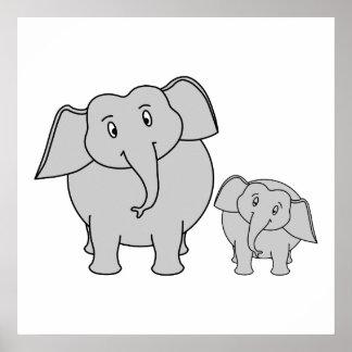 Dois elefantes bonitos Desenhos animados Impressão