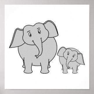 Dois elefantes bonitos. Desenhos animados Pôsteres