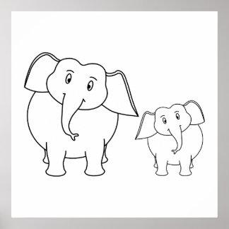 Dois elefantes brancos bonitos Desenhos animados Posters