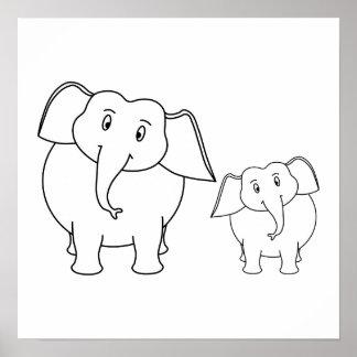 Dois elefantes brancos bonitos. Desenhos animados Posters