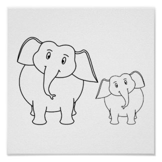 Dois elefantes brancos bonitos. Desenhos animados Poster