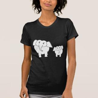 Dois elefantes brancos bonitos no preto. Desenhos Camiseta