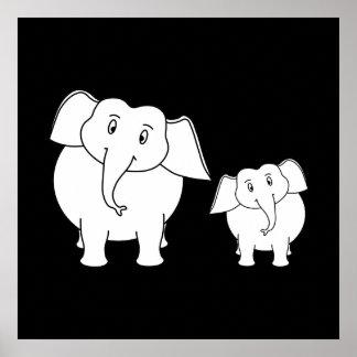 Dois elefantes brancos bonitos no preto. Desenhos  Posters