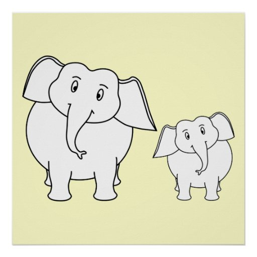 Dois elefantes brancos no creme. Desenhos animados Posters