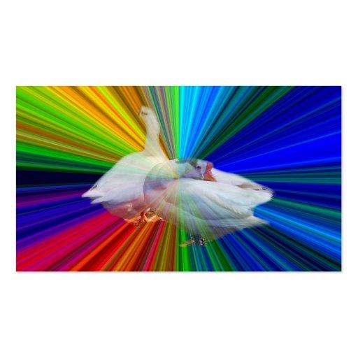 dois gansos brancos no fundo muito extravagante modelo cartoes de visita