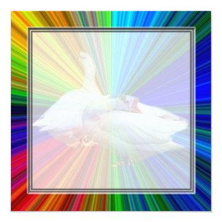 dois gansos brancos no fundo muito extravagante convites personalizados