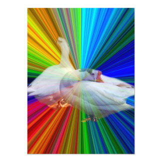 dois gansos brancos no fundo muito extravagante convite 13.97 x 19.05cm