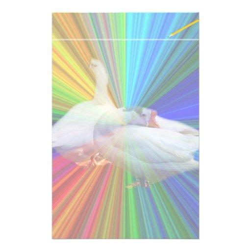dois gansos brancos no fundo muito extravagante papelaria personalizada