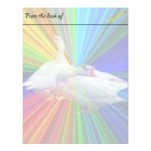 dois gansos brancos no fundo muito extravagante papéis de carta personalizados