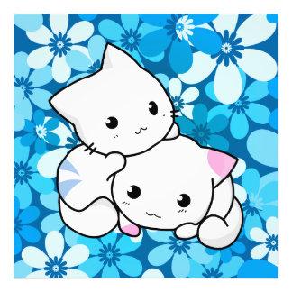 Dois gatinhos no fundo azul impressão de foto