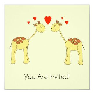Dois girafas enfrentando com corações. Desenhos Convite Quadrado 13.35 X 13.35cm