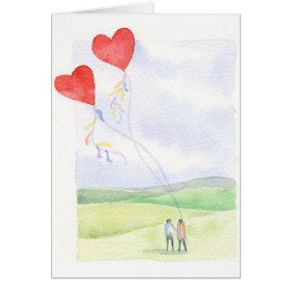 Dois no amor - cartão de nota