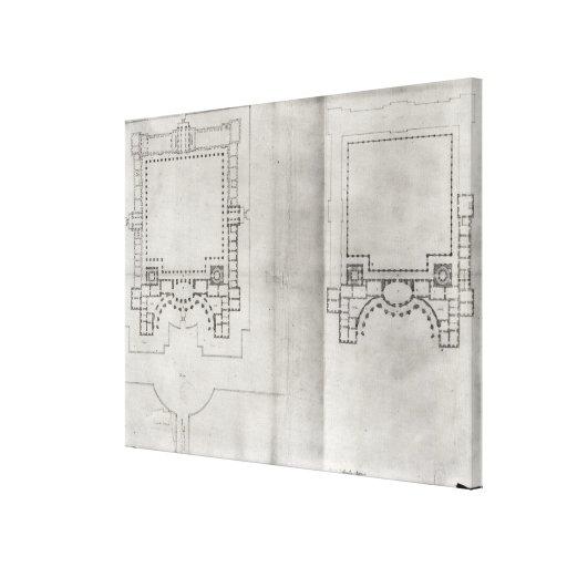Dois planos para o primeiro projeto para o Louvre Impressão De Canvas Esticadas