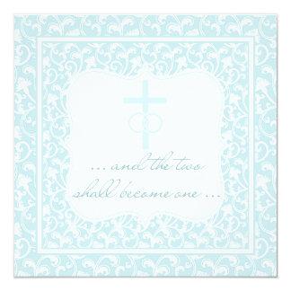 Dois transformar-se-ão um azul cristão do Aqua do Convite Quadrado 13.35 X 13.35cm