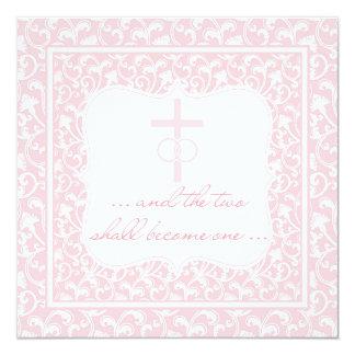 Dois transformar-se-ão um rosa cristão do convite quadrado 13.35 x 13.35cm