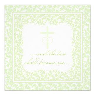 Dois transformar-se-ão um verde cristão do casamen convites
