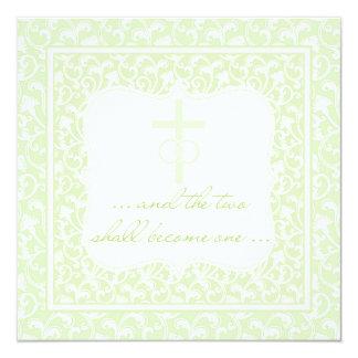 Dois transformar-se-ão um verde cristão do convite quadrado 13.35 x 13.35cm