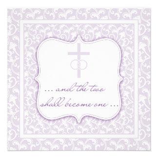 Dois transformar-se-ão uma lavanda cristã do casam convite personalizados