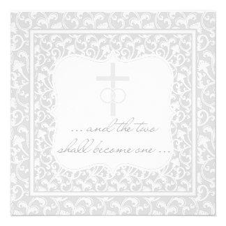 Dois transformar-se-ão uma prata cristã do casamen convite personalizados