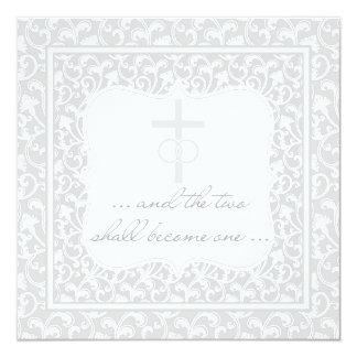 Dois transformar-se-ão uma prata cristã do convite quadrado 13.35 x 13.35cm