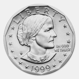 Dólar de Susan B Anthony Adesivo Redondo