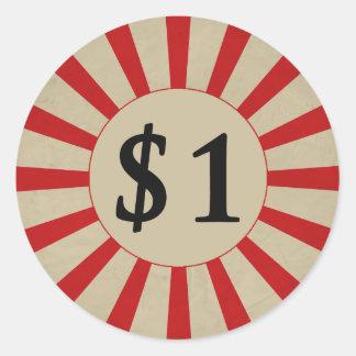 (dólar) preço $1 lustroso redondo adesivo