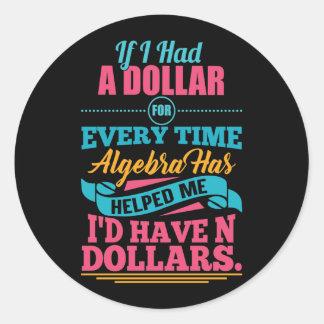 Dólares Sticke da chalaça N da equação da álgebra Adesivo Redondo