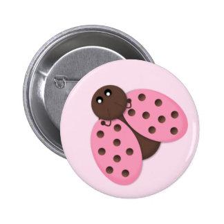 Dom cor-de-rosa do botão do joaninha bóton redondo 5.08cm