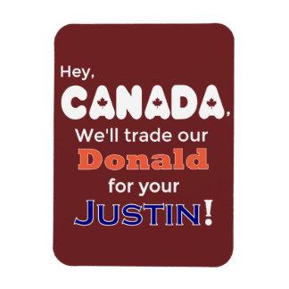 Donald de comércio engraçado para o ímã de Justin