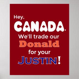 Donald de comércio para poster do trunfo de Justin