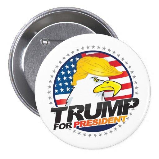 Donald Trump para o presidente Eagle Cabelo Botão Bóton Redondo 7.62cm