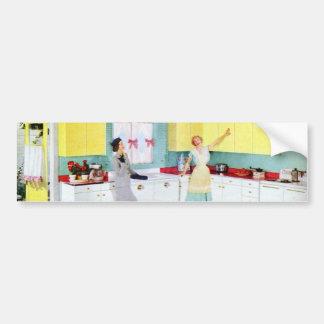 Donas de casa retros na cozinha adesivo para carro