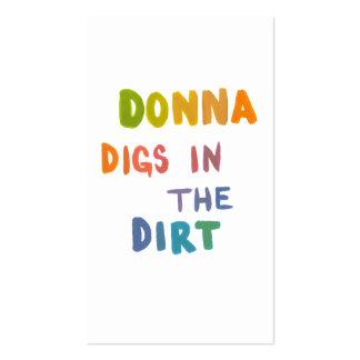 Donna escava na jardinagem das palavras da arte do modelo cartões de visita