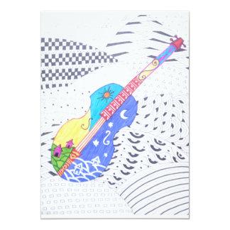 doodle da fusão das cores e preto e branco convite 12.7 x 17.78cm