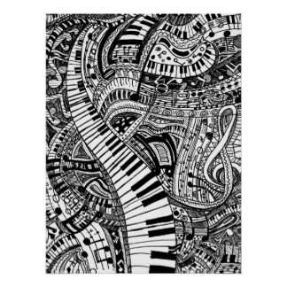 Doodle da música clássica com teclado de piano pôster
