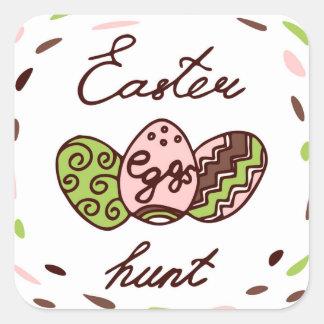 Doodle do feriado da caça | dos ovos da páscoa adesivo quadrado