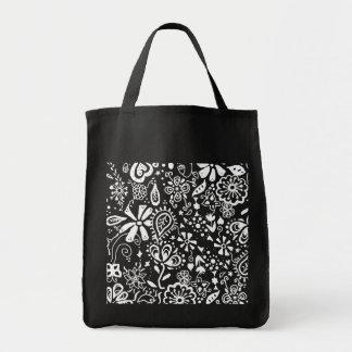 Doodle floral roxo do teste padrão bolsas de lona