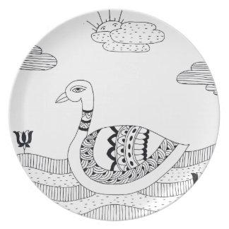 Doodle preto e branco da cisne louças de jantar