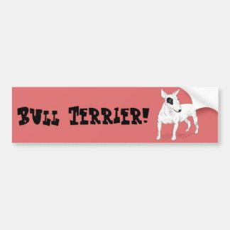 Doodle retro de bull terrier no fundo do pêssego adesivo para carro