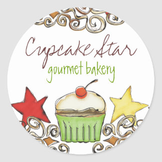 doodle watercolor cupcake Christmas holiday sti... Sticker