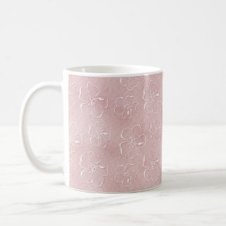 Doodles do hibiscus no rosa - caneca