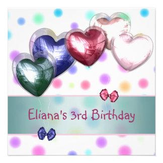 Dos balões Pastel da cerceta do aniversário de 3 a Convites Personalizados