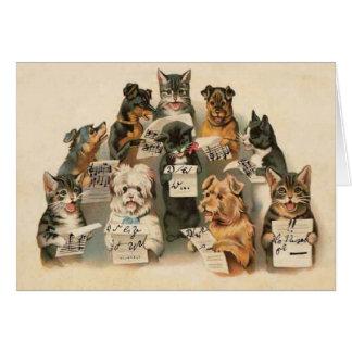 Dos cães musicais dos gatos do vintage cartão