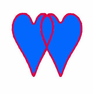 Dos enfeites de natal dos corações azul aberto jun escultura fotos