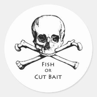 """Dos """"logotipo alegre do pirata de Roger peixes ou Adesivos Redondos"""