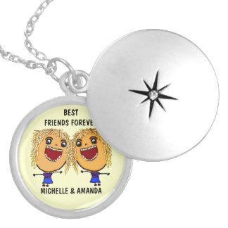 Dos melhores amigos desenhos animados louros para  colar banhado a prata