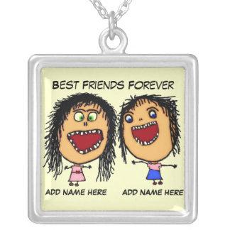 Dos melhores amigos desenhos animados para sempre colar com pendente quadrado