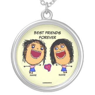 Dos melhores amigos desenhos animados para sempre colar com pendente redondo