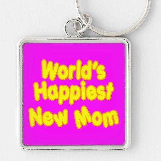 Dos mundos novos das mães dos chás de fraldas do d chaveiro quadrado na cor prata